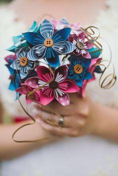 Bridal Bouquet - fleurs en papier - Kusudama - réalisé sur commande, origami, petit bouquet de mariée, fleurs de mariage, bouquet, mariage rose et bleu