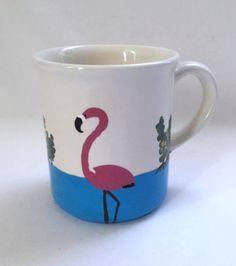 Sanibel Island Florida Pink Flamingo Mug Birds Hand Painted Coffee Cup