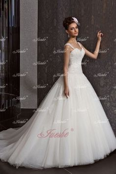 Princess Ball Gown Lace Applique Tulle Wedding Dress with Straps JSWD0006