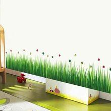 mode uitneembare diy groene gras plinten lijn kleuterschool kleuterschool kunst aan de muur sticker home decor kinderkamer sticker muurschildering wallpaper(China (Mainland))