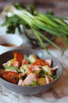 Roasted salmon, asian pear & sweet potato salad with Ponzu dressing
