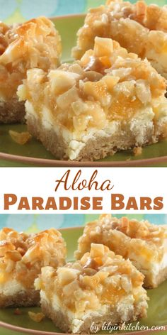 """Layers of tropical pineapple, coconut and macadamia nuts are used to create these delightfully easy Aloha Paradise Bars that says """"Summer IS here! Candied Pineapple, Dried Pineapple, Pineapple Recipes, Pineapple Coconut, Pineapple Desserts, Coconut Candy, Coconut Cookies, Coconut Macaroons, Peanut Butter Recipes"""