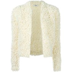 Max Mara furry detail cardigan (260.560 HUF) ❤ liked on Polyvore featuring tops, cardigans, white, white cardigan, cardigan top, maxmara and white top