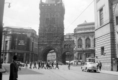 Praha - U Prašné brány (At The Powder Tower), photo by Fortepan Old Photography, Czech Republic, True Beauty, Prague, Old Photos, Tower, Street View, Black And White, Retro