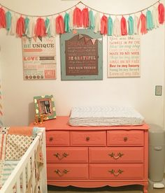 Benjamin Moore paint in Coral Gables used for dresser, wall decor from Hobby Lobby.