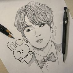 day as well 🌚~ memeb… {Jungkook Day. day as well 🌚~ memebers aging fast 😂 idk when i will pick a color pencil but i have no time for… Jungkook Fanart, Kpop Fanart, Bts Jungkook, Bts Jin, Kpop Drawings, Art Drawings Sketches Simple, Pencil Art Drawings, Drawing Ideas, Fan Art