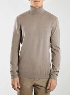 Light Camel Turtle Crew Neck Sweater