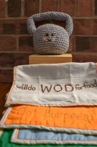 crossfit baby: crocheted Kettlebell, Burpee burp clothes & more -by pinGwenn