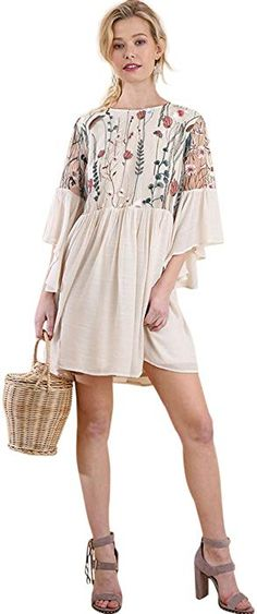 0e8185617eff Umgee Women s Floral Embroidered Lace Keyhole Angel Sleeve Dress at Amazon Women s  Clothing store