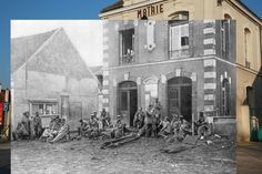 Vareddes Town Hall, France.   11 Time-Travelling Photos Of World War One: Then And Now