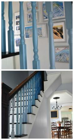 Painted spindles I'd have never guessed it would look so pretty Ombre Paint, Diy Ombre, Staircase Railings, Staircases, Apt Ideas, House Ideas, Beautiful Stairs, Decorating Ideas, Decor Ideas