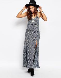Image 4 ofMilk It Vintage Strappy Maxi Dress With Deep V Back In Dark Floral