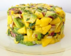 Mango & Avocado Salsa Instead of onions, I add cherry tomatoes - also I'll add pre-cooked, shelled and de-veined shrimp for a little pizzaz! Appetizer Recipes, Snack Recipes, Appetizers, Healthy Recipes, Snacks, Yummy Recipes, Cheese Nutrition, Nutrition Guide, Sauces