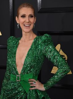 Celine Dion Photos Photos - Celine Dion arrives for the 59th Grammy Awards on February 12, 2017, in Los Angeles, California.  / AFP / Mark RALSTON - The 59th GRAMMY Awards - Arrivals