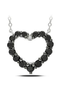 1Ct Black And White Diamond Heart Pendant In Silver