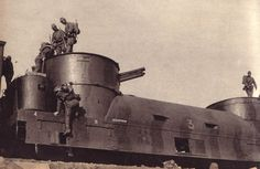 Photo with no caption showing an armored train.