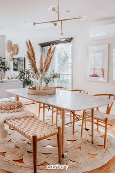 This Chelsea Marble Dining Table and Raymond Pendant Light look like bliss in Al. - This Chelsea Marble Dining Table and Raymond Pendant Light look like bliss in Alice. Decor, Boho Dining Room, Aesthetic Room Decor, Dining Room Design, Home Decor, House Interior, Dining Table Marble, Dream Dining Room, Interior Design Living Room