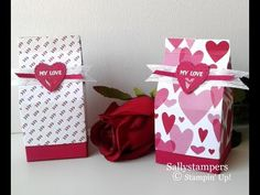 All My Love DSP, Whisper White Flax Ribbon and a Lovely Lipstick Heart. You just need to fill it now! Independent Stampin' Up! Valentine Love Cards, Valentine Treats, Valentines, Craft Projects, Projects To Try, Milk Box, Envelope Punch Board, Treat Holder, Top Gifts
