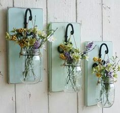 NEW…Rustic Farmhouse… Wood Wall Decor…Individual Hanging Mason Jars…Your… - Home Professional Decoration Easy Home Decor, Cheap Home Decor, Natural Home Decor, Deco Champetre, Hanging Mason Jars, Mason Jar Planter, Mason Jar Sconce, Mason Jar Vases, Wood Wall Decor