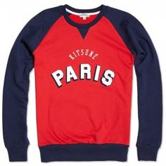 """Dope or Nope: This """"Paris"""" crew neck is part of the Kitsuné Tee collection for Urban Fashion, Mens Fashion, Urban Street Style, Guys Be Like, Yeezy, Paris, My Style, Jumper, Sleeves"""