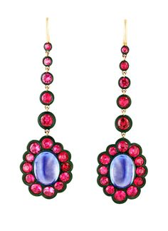 The Red Hot Hippie Gift Guide - James de Givenchy for Taffin gold, steel, sapphire, and spinel earrings, $50,000, by appointment, Taffin, New York, 212.421.6222.