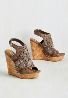 Come What Macrame Wedge in Mocha. You never knew you could love a pair of heels as much as you do these taupe wedges! #brown #modcloth