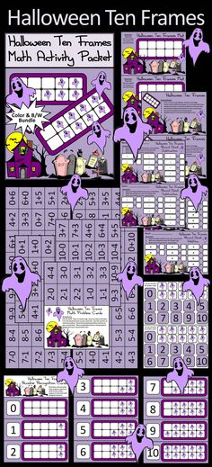 Halloween Ten Frames Math Activity Packet Bundle: A fun way to practice addition and subtraction facts in a hauntingly hands-on way. Also a great way to practice number recognition.  Contents Include: * Two Halloween Ten Frames Work Mats * Two Instruction Sets * Two Sets of Number Cards * Two Sets of Ghost Counters * One Set of Problem Cards * One Set of Number Recognition Cards * Two Addition Student Record Sheets * Two Subtraction Student Record Sheets  #Halloween #Math #Ten #Frame