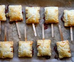 Brie Squares, Puff pastry, brie and jam baked into bite size pieces of delishiousness