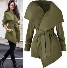 Women's Long Sleeve Windbreaker Open Front Cardigan Blouse Ladies Elegant Jacket Outwear Loose Tops with Sashes Warm Outfits, Winter Fashion Outfits, Classy Outfits, Work Fashion, Stylish Outfits, Autumn Fashion, Fashion Dresses, Iranian Women Fashion, Muslim Fashion