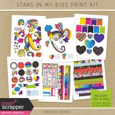 Stars In My Eyes Print Kit Lisa Frank Stickers, Christmas Pageant, Neon Rainbow, My Eyes, Digital Scrapbooking, Girly, Printables, Kit, Make It Yourself