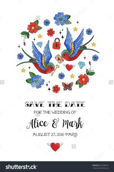 Save The Date. Wedding Invitation Card Template with Birds.