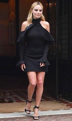 Margot Robbie in Elie Saab leaves her NYC hotel. #bestdressed