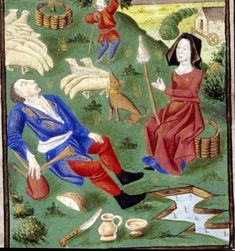 Book of Hours. Spinning from a distaff held between the knees.
