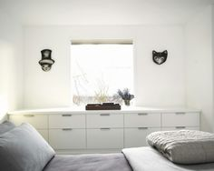 Small bedroom built-in storage