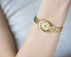 Feminine watch gold plated round women's wristwatch by SovietEra