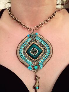 Romantic Turquoise Necklece long thick chain- -shining turquoise rainstone wiht turquois stones -gold  plated- hand made- on of a kind. by RachelGefenDesigns on Etsy https://www.etsy.com/il-en/listing/479725885/romantic-turquoise-necklece-long-thick