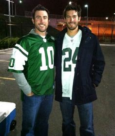 Detroit Tigers pitchers Justin Verlander and Rick Porcello...Im going to completely ignore the fact that they are wearing Jets jerseys!