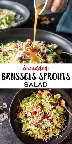 This Shredded Brussels Sprouts Salad makes a festive and flavorful side dish for Thanksgiving. It can be easily modified to be vegan or paleo friendly!