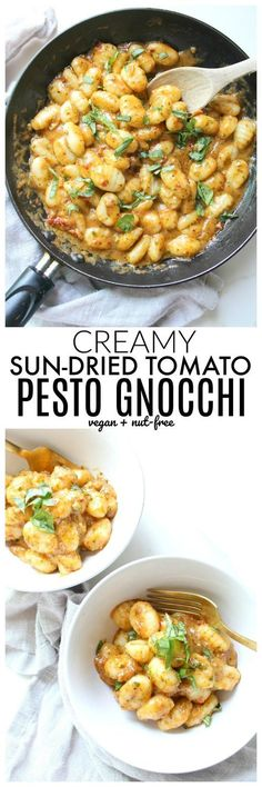 This creamy, vegan, sun-dried tomato pesto gnocchi is a . - This creamy, vegan, sun-dried tomato pesto gnocchi is a … # creamy dried - Veggie Recipes, Pasta Recipes, Whole Food Recipes, Vegetarian Recipes, Cooking Recipes, Healthy Recipes, Nocchi Recipes, Recipes With Pesto, Vegetarian Pesto