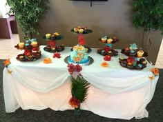 Tropical Themed 40th Anniversary Party cake table