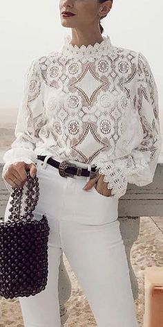 Lace Shirt - Lace Shirt Fashion lace splicing long sleeve shirt, various style&color for you, worldwide free ship - Mode Outfits, Chic Outfits, Fashion Outfits, Womens Fashion, Fashion Trends, Fashion Pants, White Fashion, Look Fashion, Autumn Fashion