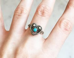 Vintage 70s Sterling Heart Turquoise Ring