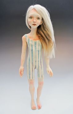 "Victoria Rose Martin's beautiful doll ""Jasmine"" is ready for summer in the spring issue of Art Doll Quarterly!"