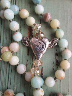 Winged heart semi precious stone knotted necklace - Follow Your Heart - Graduation gift blue tan neutral country beach boho by slashKnots
