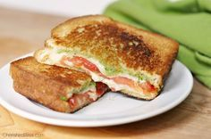 With fresh garden basil pesto, delicious vine ripened tomatoes, and natural grated mozzarella cheese, you cannot go wrong. This is definitely not yo Mama's grilled cheese!