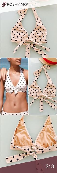 J. Crew Polka Dot Swim Top in Small J. Crew Polka Dot Swim Top in Small. Perfect like new swim top. Classic and flattering around the neck tie Polka Dot swim top with easy to adjust back tie. Front accented tie in an off white and navy blue Polka Dot. J. Crew Swim