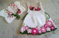 Çiçekli bebek elbise ve bolero modelleri