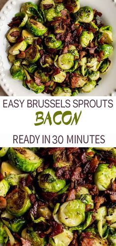 This Brussels sprouts and bacon recipe is a super delicious side dish that the whole family will love. It's easy and fast. Brussels Sprouts Recipe With Bacon, Sauteed Brussel Sprouts, Roasted Sprouts, Recipe For Brussel Sprouts And Bacon, Healthy Brussel Sprout Recipes, Easy Bacon Recipes, Cooking Recipes, Healthy Recipes, Fast Recipes