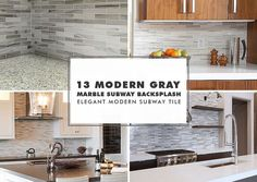 Modern White Kitchen with Subway Marble Backsplash Tile White kitchen cabinets with white carrara kitchen countertop mixed with gray earthy tones subway marble kitchen backsplash tile. PHOTO ID Photo Credit Marble Tile Backsplash, Marble Subway Tiles, Kitchen Backsplash, Marble Mosaic, Backsplash Ideas, Backsplash Design, Kitchen Cabinets, Dark Kitchen Floors, Kitchen Flooring