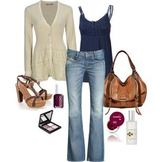 Summer vacation outfit. Navy, brown leather, white lace.